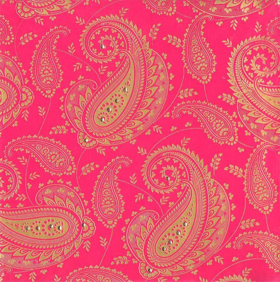 Indian Wedding Cards With Pink Gold Theme Paisley Background