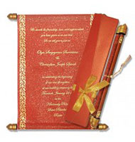 Red Gold Scroll Invitations, Scroll Kits For Invitations, Scroll Invitations Worcestershire, Scroll Wedding Invitations Raleigh
