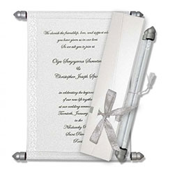 White Scroll Wedding Invitations, Scroll Beach Wedding Invitations, Buy Scroll Invitations Durham, Buy Scroll Wedding Invitations Austin