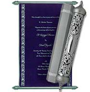 Royal Blue Scroll Invitations in USA, Blue silver theme, Scroll Anniversary Invitations, Buy Scroll Invitations Buckinghamshire, Buy Scroll Wedding Invitations Chicago