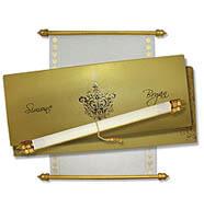 Scroll Wedding Invitation With Box Gold Scrolls By Mackmarkcards
