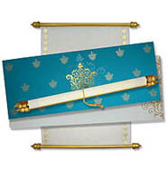 Turquoise scroll invitations