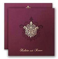 Purple Gold Muslim Wedding Invitations