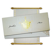 White Gold Scroll Invitations, Scroll Invitation Template, Scroll Wedding Invitations Oxford, Scroll Wedding Invitations Canada