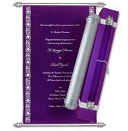 Velvet Scroll Invitations, Royal Scroll Invitations, Purple Scroll Invitations