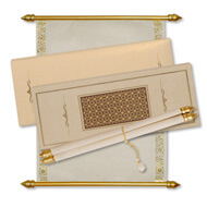 Laser Cut Scroll Invitation Boxes, Masquerade Scrolls Online, Budget Scroll Invitations USA
