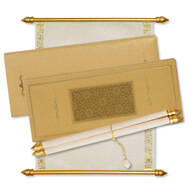 Engraved Scroll Boxes, Scroll Invitations New York, Handmade Scroll Invitations online