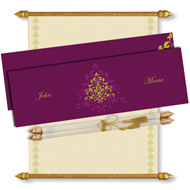Purple Scroll Invitation, Scroll Invitations with box, Scroll Wedding Invitations, Scroll Invitations USA