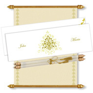White Gold Scroll Invitation, Scroll Invitations with box, Scroll Wedding Invitations, Scroll Invitations