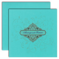 Turquoise blue invitations, latest hindu wedding cards, Indian wedding cards Bakersfield, Muslim Wedding Cards Lincoln
