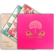 Bright Pink Indian wedding cards, Tree of life wedding invitation