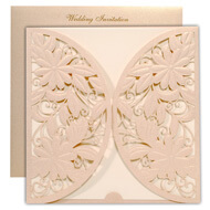 Laser cut wedding cards, Light brown theme, Indian wedding card California