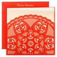 Artistic lasercut wedding invitations, Bright red card, Hindu Wedding Invitations online