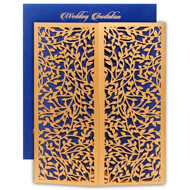 Buy lasercut wedding invitations, Blue Gold theme, Indian wedding cards online