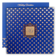 Blue Gold Indian Wedding cards, Buy Muslim wedding invitations online