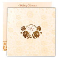 White gold muslim wedding cards, Self embossed wedding invitation