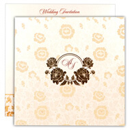 Off white Hindu wedding cards, White gold theme cards
