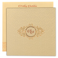 Gold theme Indian wedding cards, Self embossed design, Indian wedding invitations in UK