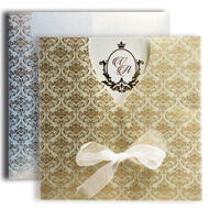 Indian wedding invitations USA, Card with jacket and ribbon, Cutout wedding cards