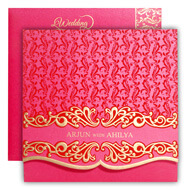 Bright Pink Muslim wedding cards, Mumbai Wedding cards online