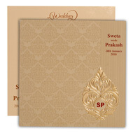 Paisley theme green muslim wedding cards, Cheap Indian wedding cards