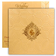 Gold theme hindu wedding cards with Ganesha, Self embossed card invitation