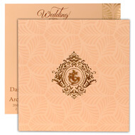 Peach theme Hindu wedding cards with Ganesha & Self embossed design
