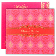 Pink gold Hindu wedding cards, Indian wedding cards cheap
