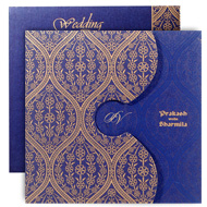 Exclusive Indian wedding invitation, Blue gold theme, Buy Indian wedding cards in UK