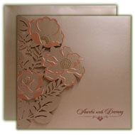 Islamic wedding cards, Rose Gold Laser cut cards, Buy Indian Invitations