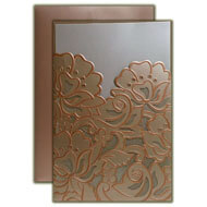 Rose Gold Metallic Wedding Invitations, Floral Laser cut Wedding Invitations