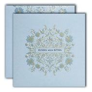 Light Blue Textured wedding cards, Shop Islamic Wedding cards in UK, Indian Wedding Invitations in USA