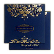 Buy Cheap Indian wedding cards, Blue Gold theme Wedding Invitations, Indian Wedding cards UK