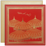 Red Gold traditional Hindu wedding cards, online hindu wedding cards, Kankotris USA, Buy Wedding cards Mumbai