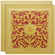 Red Gold Laser cut wedding invitations, hindu marriage cards designs, Buy Kankotris in USA, Mumbai Wedding Cards