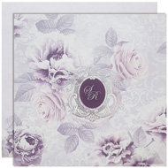 Purple theme floral wedding cards, cheap indian wedding invitation cards, Kankotris New York, Wedding Invitation mumbai