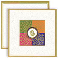 Colorful Hindu wedding cards with Ganesha